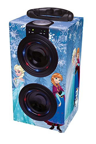 Disney Frozen Torre Sonido Portátil con Altavoces Luminosos, Bluetooth, Puertos USB/SD / MP3, batería Recargable, Color Azul (BT600FZ), Lexibook