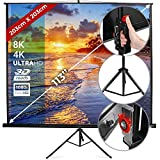 Projector Screen with Tripod - 203x203cm, 113 Inches, Portable, White Canvas, Format: 1:1, 4:3, 16:9, HD, indoor, outdoor - Cinema Movie Projection Screen, Projector Panel