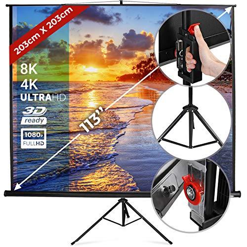Écran de Projection avec Trépied - 203x203cm, 113 Pouces, Enroulable, Portable, Hauteur Réglable, Formats 1:1, 4:3, 16:9, Gain 1.0 - Écran de Projecteur, Roulant, Videoprojecteur, Home Cinéma