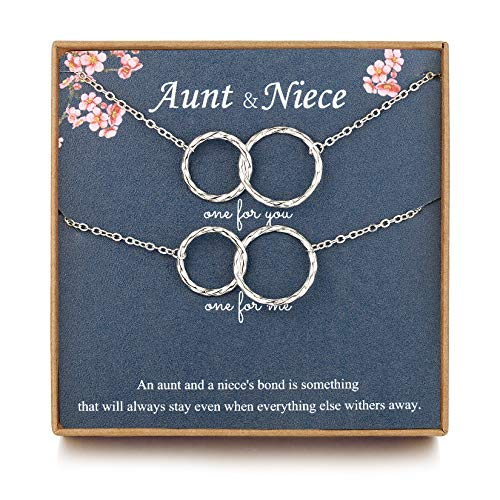 J.Charm Aunt Niece Necklace for 2, Niece Gifts from Auntie Two Infinity Double Circle Sterling Silver Necklace, Aunt Gifts from Niece