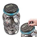 YITAQI Digital Coin Bank,1.5L LCD Display Automatic Electronic Coin Counter Coins Counting Jar Piggy Bank Money Saving Box(USD)