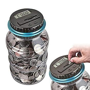 YITAQI Digital Coin Bank,1.5L LCD Display Automatic Electronic Coin Counter Coins Counting Jar Piggy Bank Money Saving Box GBP