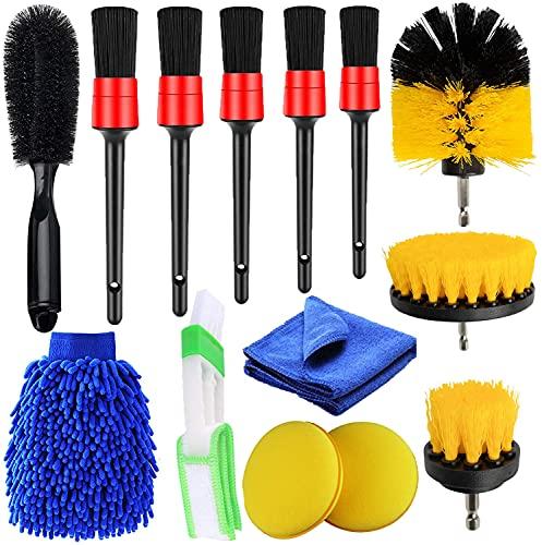 Juego de 14 Kit Limpieza Coche,Cepillo Lavar Coche para Detalles de automóviles, cepillos de Limpieza de Coche para Motor, llanta de Aluminio, Salidas de Aire, Interior y Exterior