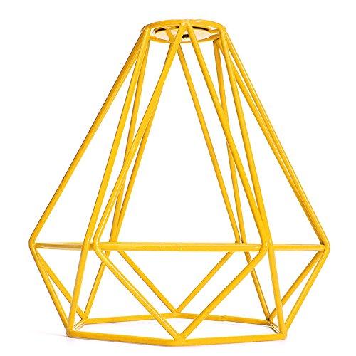 Jaula Lámpara de Techo Luz Bulbo Colgante de Loft Diamante de Imitación Metal Vendimia Decoración Hogar - Amarillo