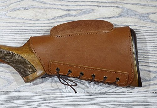 vsdfvsdfv Real Leather Buttstock Protection Cover with Cheek Rest Padded (Brown)