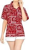LA LEELA Blusas para Mujer Camisa Hawaiana nadan Desgaste de la Playa de Manga Corta Traje de baño Blood Rojo XXL