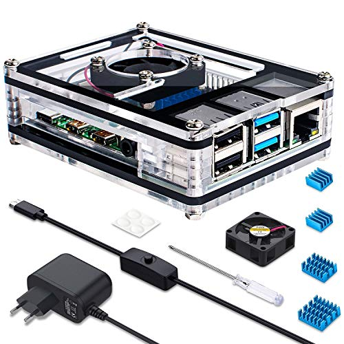 Miuzei-Gehäuse für Raspberry Pi 4 mit Lüfterkühlung, 4 × Aluminiumkühlkörper, 5 V 3A USB-C-Netzteil mit EIN/AUS-Schalter Nur für Raspberry Pi 4 Modell B