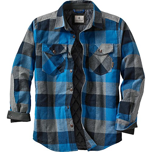 Legendary Whitetails Men's Woodsman Quilted Shirt Jacket Blue Graphite Plaid Large