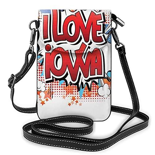 Bolso cruzado pequeño para teléfono celular, con frase 'I Love Iowa, estilo retro cómic, efecto ráfaga y fondo de estrellas