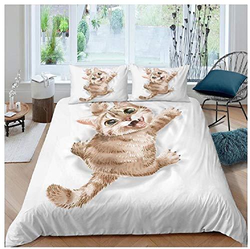BAIYANG Cat Kitty Kitten Bedding Set Queen 3D Cute Printed Duvet Cover Bedclothes 2/3Pcs Home Textiles Bedspread Super King(260x220cm)