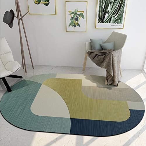 SN Huipeng Alfombra redonda grande moderna geométrica, sala de estar, dormitorio, irregular, lavable, no se desprende de la alfombra de decoración del hogar, 120 x 160 cm