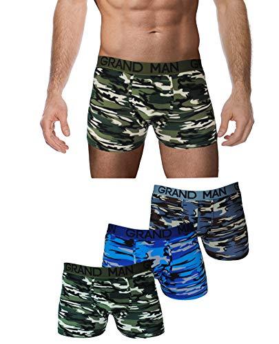 Garcia Pescara ® Men Herren Unterhosen 6er Pack Boxershorts Baumwolle Männer Retroshorts Tarnfarben Camouflage Hanf Cannabis Blätter M