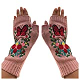 Tesya Hand Cable Knit Fingerless Wool Fleece Lined Warmer Texting Gloves Mittens Multi-color Bird Fruit Leaf Embroidery