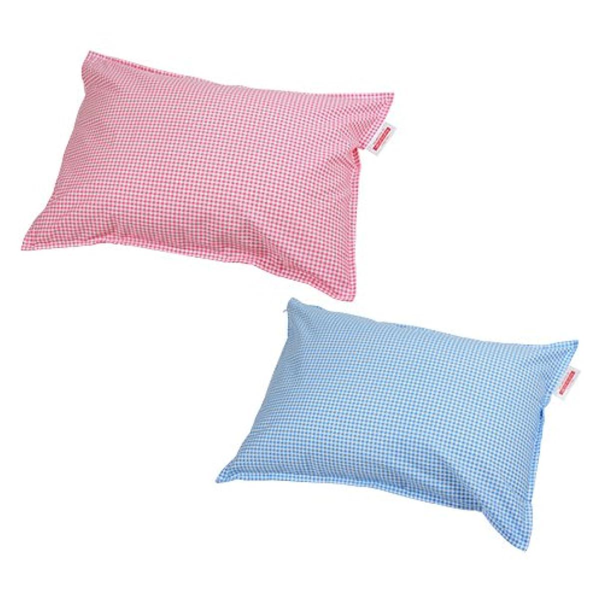 いたずらな葉イサカ枕カバー 35×50cmの枕用 ファスナー式 ギンガムチェック ステッチ仕上げ 安心の日本製 ブルー