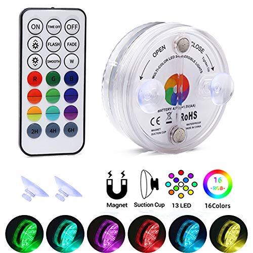 Unterwasser Licht RGB, Midore Multi Wasserdichte IP68 LED Leuchten 13 LED mit RF fernbedienung für Vasenbasis, Whirlpool, Aquarium, Teich, Pool, Garten, Zuhause