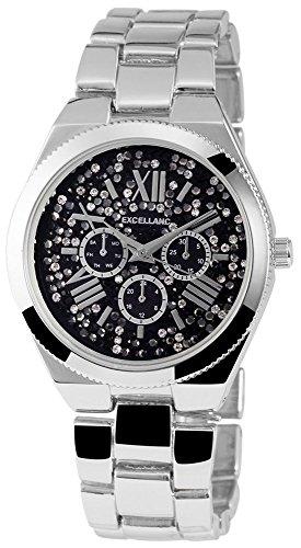Damenuhr Schwarz Silber Strass Römische Ziffern Chrono-Look Armbanduhr
