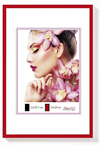 IDEAL Light Kunststoff Bilderrahmen in 20x30 cm bis 50x70 cm Bilder Foto Rahmen: Farbe: Rot | Format: 30x40