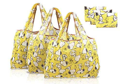 Finex 3 Pcs Set Snoopy Foldable Reusable Tote Grocery Shopping Bag