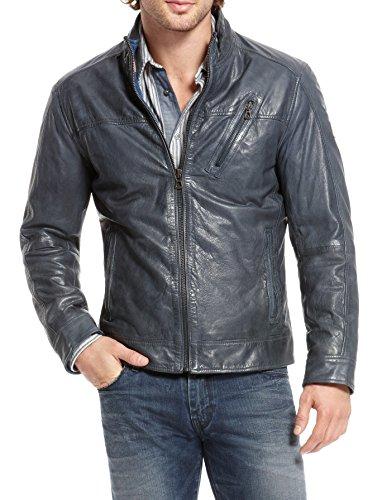 Chaqueta de cuero acolchada para hombre 100% auténtica suave piel de cordero Biker Bomber NLJUK393