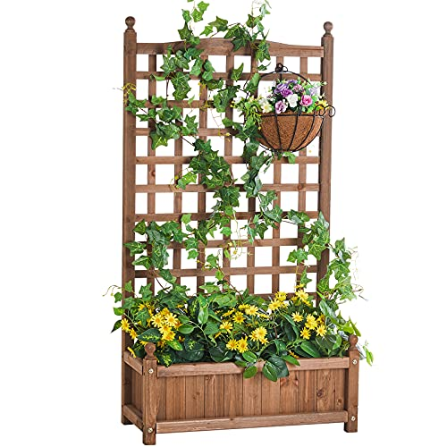 Amerlife Raised Garden Bed with Trellis - Garden Box for Vine Climbing Plants...