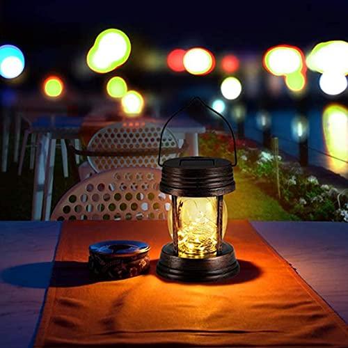 Vintage Solarlaterne für außen - Retro Garten Hängend Solarleuchte mit 30 LEDs Warmweiß Kette Solartischlampe IP44 Wasserdicht mit Griff Gartenlaternen für Terrasse Balkon Hof Hinterhöfe Wege Deko