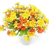 MOAMUN 4 Bouquet de Bouquet de Fleurs Artificielles 28 Têtes, Mignon Faux Marguerite Fleur pour Usage Extérieur Mariage Maison Jardin Décor (Orange)