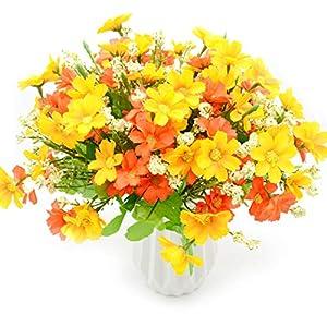 MOAMUN 4 Ramo De Flores Artificiales Ramo De Margaritas De 28 Cabezas, Plantas Artificiales De Flores Falsas Plantador…