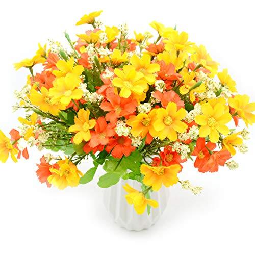 MOAMUN 4 Ramo De Flores Artificiales Ramo De Margaritas De 28 Cabezas, Plantas Artificiales De Flores Falsas Plantador Colgante De Interior para Jardín Oficina Decoración De Boda En Casa (Orange)