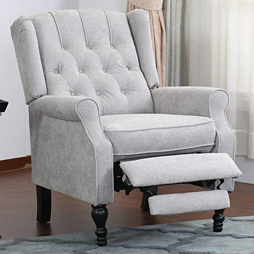 Canfly Relaxsessel Sessel Sofa Arm Chair Lehnstuhl mit getufteter Rückenlehne, Push Back Lehnstuhl für Wohnzimmer, Schlafzimmer, Heimkino-Sitzmöbel mit gepolstertem Sitz, Holzbeine, hellgrau
