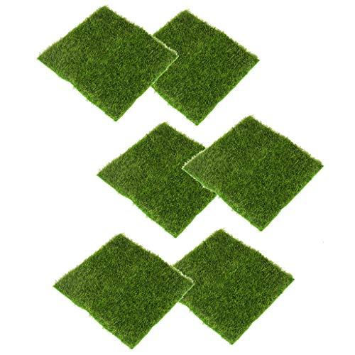 Fenteer 6 Stücke Kunstrasen Rasen Moosmatten Deko Moos Flachmoos Moosplatten Dekoration Moss, 15 x 15 cm