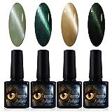 4x Esmaltes Semipermanentes Magnéticos para Uñas, Gel Shellac UV LED para Manicura Pedicura Nail Art, Ojo de Gato 3D, Imán Gratis, 10ML (Serie Verde - Jade, Esmeralda, Oliva, Oscuro)