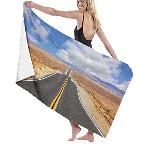 Toalla de baño de Calidad súper Suave, autopista en la estepa de California y Nubes Carretera asfaltada Horizon Hills Journey, Tacto Natural, súper absotoalla de baño rbent