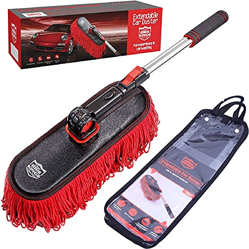 RIDE KINGS Car Duster Exterior Scratch Free,Car Dust Brush with Extendable Telescoping Handle to Remove Dust Pollen,Duster for Car,Truck,RV and Motorcycle,Large Car Mop Duster Head, Wax Cotton Hair