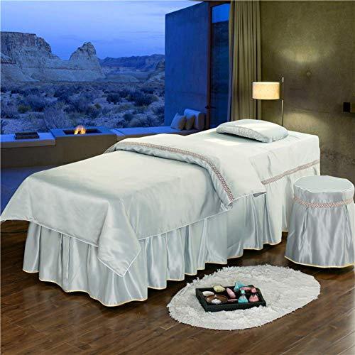 ZHUAN Juego de sábanas de Mesa de Masaje Premium, Juego de Falda de Mesa de Masaje, Colcha de SPA con Cara de Encaje, 4 Piezas, para Camilla de Masaje portátil, Cama, 80x190cm (31x75 Pulgadas)