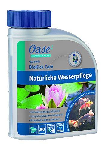 Oase 43155 AquaActiv BioKick Care natürliche Wasserpflege für Teiche 500 ml - hochaktives Teichpflegemittel mit natürlichen Mineralien für klares Teichwasser im Gartenteich Fischteich Koiteich