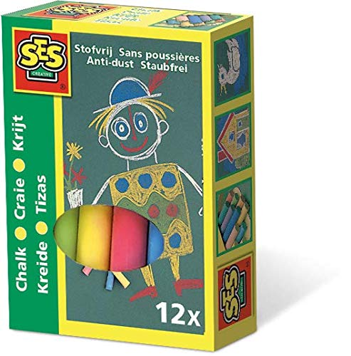 SES Creative- SES Set of Children's Coloured Chalk, Multicolor (00201)
