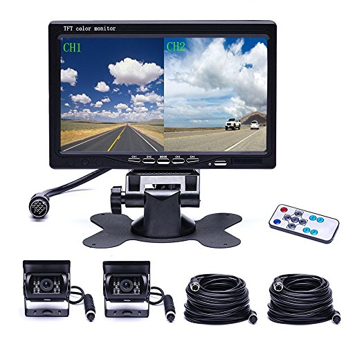 Camecho Vehicle Backup Camera 4 Split Monitor Front View Rear View Camera Auto 18 IR Night Vision Waterproof Aviation 4 Pins Connector LCD Monitor for Trucks RV Trailer Bus