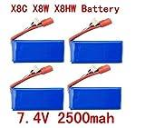 Fytoo 4PCS 7.4V 2500mAh 25C Lipo Battery per Syma X8C X8W X8G X8HC X8HG X8HW...