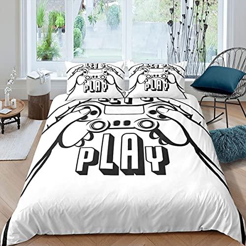 Gamepad - Copripiumino per console di gioco, con scritta 'Let's Play' per bambini, adulti, copriletto, ultra morbido, moderno, decorazione per la stanza, colore: bianco