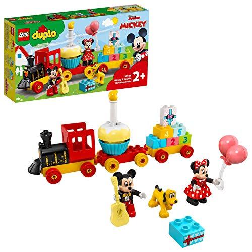 LEGO 10941 DUPLO Disney Mickys und Minnies Geburtstagszug, Spielzeug für Kleinkinder mit Kuchen und Ballons