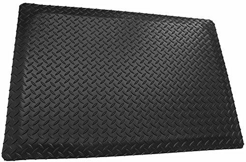 Rhino Mats DTT36BRNSX8 Diamond Plate Anti-Fatigue Mat, Black, 3' x 8' x 9/16