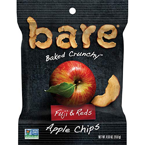 Bare Natural Apple Chips, Fuji & Reds, Gluten Free + Baked, Snack Size Bag - 0.53 Oz (Pack of 24)