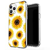 JAHOLAN iPhone 11 Pro Case Clear Cute Design Flexible Bumper TPU Soft Rubber Silicone Cover Phone Case for iPhone 11 Pro 5.8 inch 2019 - Girl Floral Sun Flower Gold