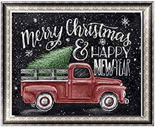 Apomelo 10×12 inch DIY Diamond Painting by Numbers Christmas Red Truck Full Drill Painting with Diamond Rhinestone Dot Art Craft, Happy New Year