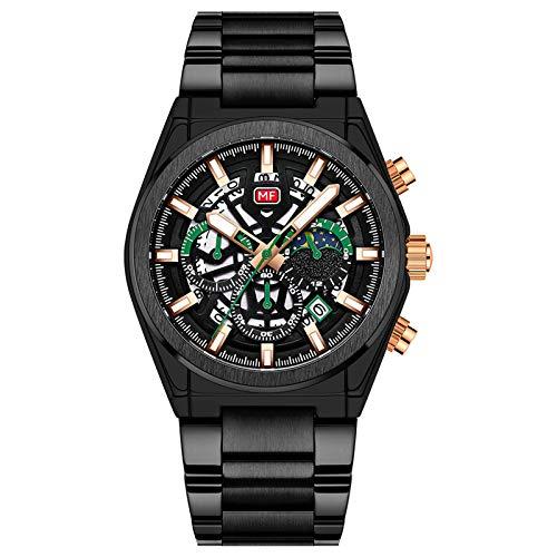 JTTM Reloj De Cuarzo para Hombre Manos Luminosas Multifunción Calendario Impermeable Analógico Cronógrafo Acero Inoxidable Correa Reloj De Negocios,Negro