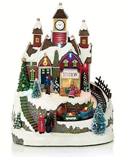 LED Musicale Natale Animate Tradizionale Village Neve Scene con treno in movimento