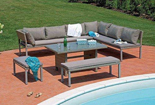 PEGANE Salon de Jardin avec Structure en Aluminium satiné composé de 2 fauteuils + 1 canapé + 1 Table Basse