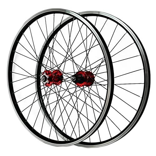 LICHUXIN Juego Ruedas Bicicleta Delantera y Trasera Liberación Rápida 26/29 Pulgadas MTB Aleación Llanta Doble Pared Freno Disco/Freno V 7 8 9 10 11 Velocidad (Color : Red, Size : 29in)