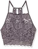 Amazon Brand - Mae Women's Hi-Neck Lace Bralette (for A-C cups), Charcoal Grey, X-Large