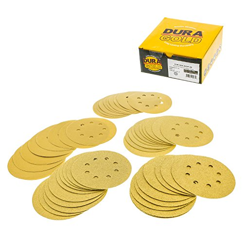 Dura-Gold Premium - Variety Pack - 5' Gold Sanding Discs - 8-Hole Dustless Hook and Loop - 10 Each of Grit (60, 80, 120, 220, 320) -Box of 50 Sandpaper Finishing Discs for Woodworking or Automotive